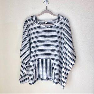 CASLON Gray & White striped linen top. Size M/L